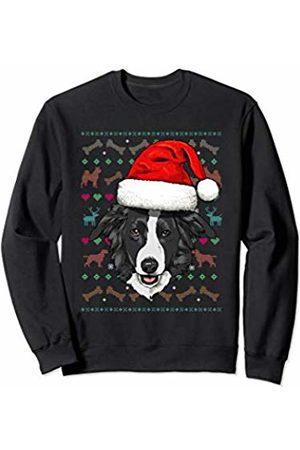 Wowsome! Border Collie Ugly Christmas Dog Santa Hat Xmas Boys Kids Sweatshirt