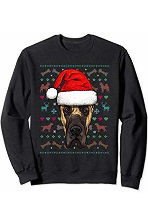 Wowsome! Great Dane Ugly Christmas Dog Santa Hat Xmas Boys Kids Sweatshirt