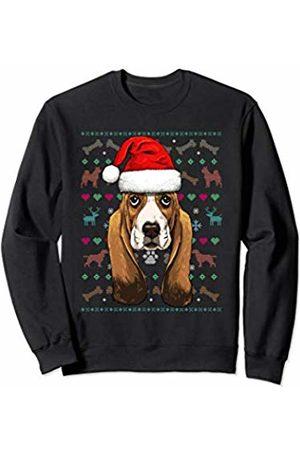 Wowsome! Basset Hound Ugly Christmas Dog Santa Hat Xmas Boys Kids Sweatshirt