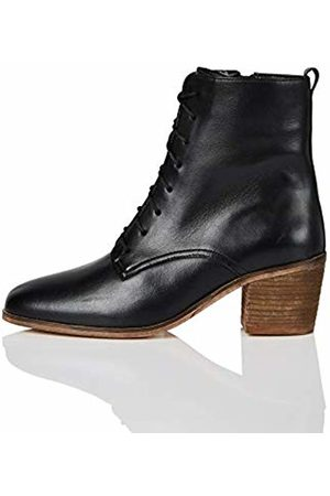 FIND Block Heel Lace Up Leather Ankle Boots, )
