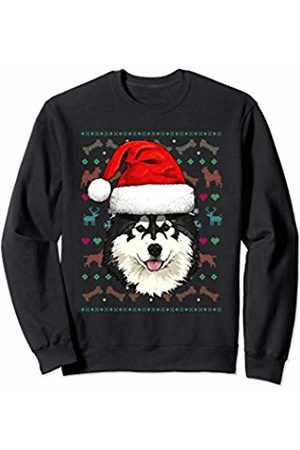 Wowsome! Alaskan Malamute Ugly Christmas Dog Santa Hat Xmas Boys Kids Sweatshirt