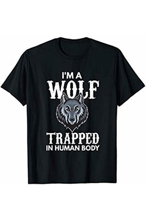 Wolf Lover Design T-Shirts For Men, Women & Kids I'm A Wolf Trapped In Human Body Gift T-Shirt
