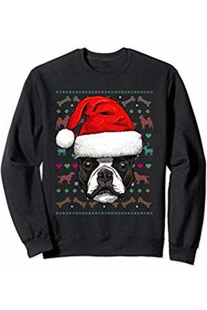 Wowsome! Boston Terrier Ugly Christmas Dog Santa Hat Xmas Boys Kids Sweatshirt