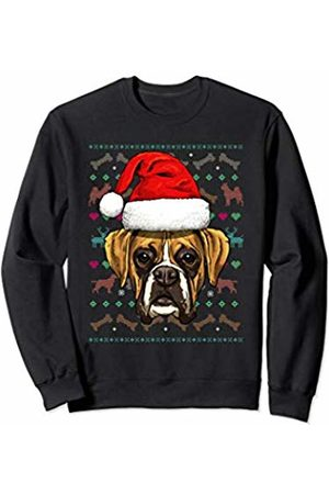 Wowsome! Boxer Ugly Christmas Dog Santa Hat Xmas Boys Kids Sweatshirt