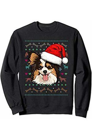 Wowsome! Papillon Ugly Christmas Dog Santa Hat Xmas Boys Kids Sweatshirt