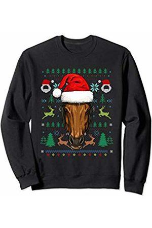 Wowsome! Horse Ugly Christmas Santa Hat Xmas Gifts Kids Boys Girls Sweatshirt