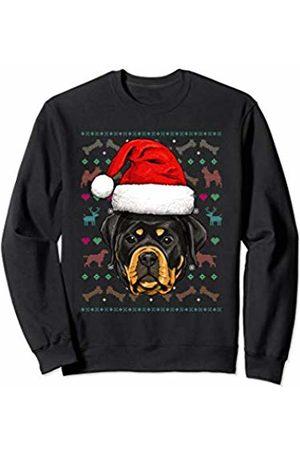 Wowsome! Rottweiler Ugly Christmas Dog Santa Hat Xmas Boys Kids Sweatshirt