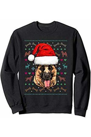 Wowsome! German Shepherd Ugly Christmas Dog Santa Hat Xmas Boys Kids Sweatshirt