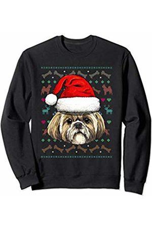 Wowsome! Shih Tzu Ugly Christmas Dog Santa Hat Xmas Boys Kids Sweatshirt
