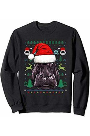 Wowsome! Hippo Ugly Christmas Santa Hat Xmas Gifts Kids Boys Girls Sweatshirt