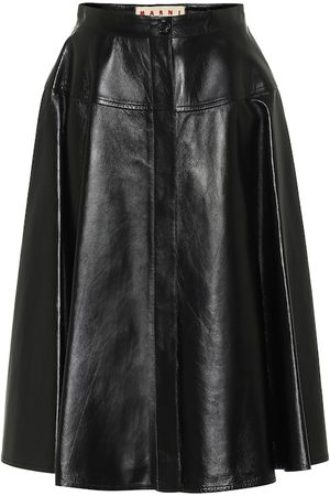 Marni High-rise leather midi skirt
