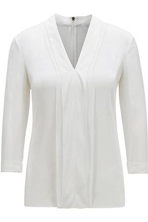 HUGO BOSS V-neck top in silk crepe with stretch