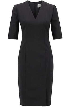 HUGO BOSS V-neck dress in Italian stretch wool