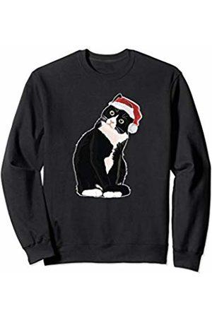 Christmas Tuxedo Cat Gifts Christmas Tuxedo Cat with Santa Hat Gift Kids and Adults Sweatshirt