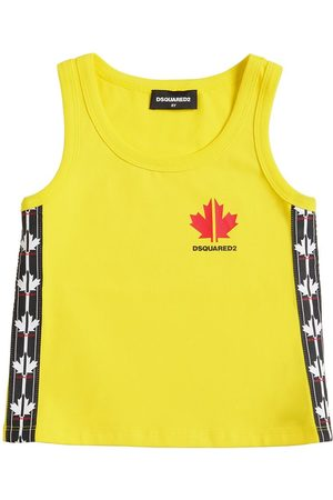Dsquared2 Cotton Tank Top W/ Logo Bands