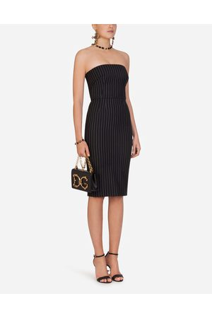Dolce & Gabbana Dresses - WOOLEN FABRIC PINSTRIPE MIDI DRESS