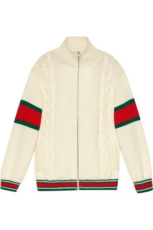 Gucci Cable-knit bomber jacket - NEUTRALS