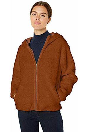 Daily Ritual Teddy Bear Hooded Zip Jacket Caramel