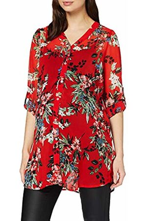 Mama Licious Women's MLCUBA Long Sleeve Woven Tunic Maternity Shirt, (Fiery AOP:Fiery /Victoria /Ivy )