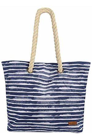 Hanalei Urban Beach Shoulder Tote Bag Navy Stripes Cotton Canvas /& Carry Straps