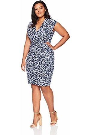 Lark & Ro Plus Size Classic Cap Sleeve Wrap Dress Business Casual, Mini Floral