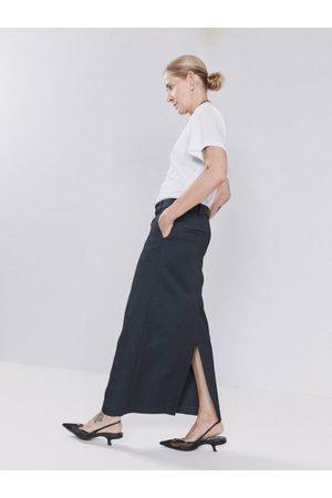 Raey Women Maxi Skirts - Textured Twill Maxi Skirt - Womens - Navy