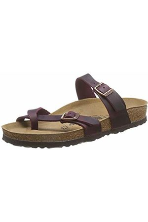 Birkenstock Women's Mayari Greased Leather Flip Flops, (Zinfandel Zinfandel)