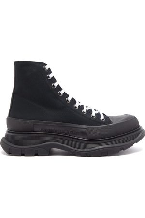 Alexander McQueen Men Trainers - Tread Slick High-top Canvas And Leather Trainers - Mens
