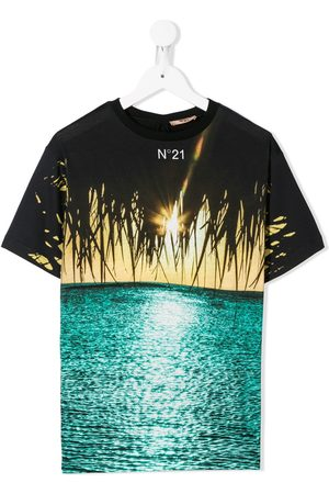 Nº21 Beach print cotton T-shirt