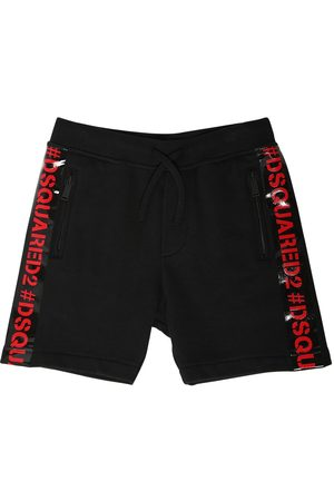 Dsquared2 Cotton Sweat Shorts W/ Logo Bands