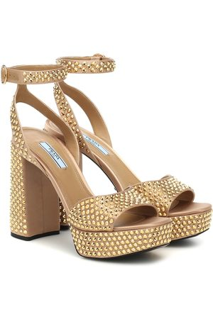 Prada Embellished satin platform sandals