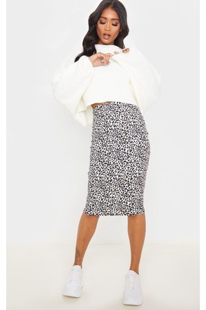 PRETTYLITTLETHING Women Midi Skirts - Leopard Print Rib Midi Skirt