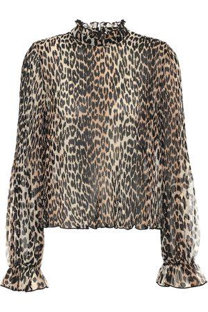 Ganni Leopard-print georgette blouse