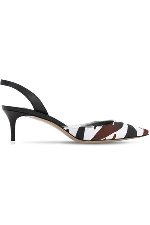The Attico 55mm Printed Crepe Satin Sling Back