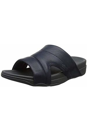 FitFlop Men's Freeway Pool Slide in Leather Open Toe Sandals, (Supernavy)