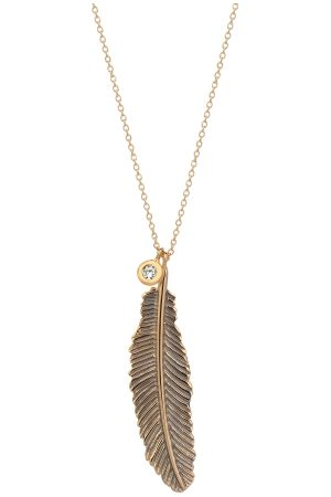 Milka 14ct Rose Gold Raven Feather Necklace
