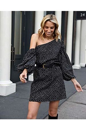 The Drop Women's Polka Dot Printed Loose-Fit Asymmetric One Shoulder Puff-Sleeve Dress by @lisadnyc