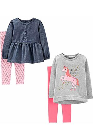 Simple Joys by Carter's 4-piece Long-sleeve Shirts and Pants Playwear Set Unicorns/Chambray