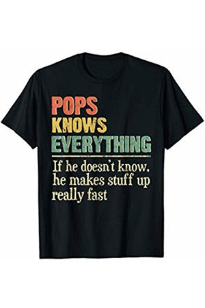 Vintage Pops Knows Everything Family Gifts Vintage Pops Knows Everything Funny Matching Family Gifts T-Shirt