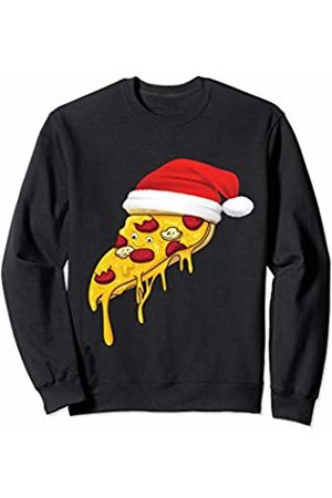 Pizza Foodie Christmas Gifts Pizza with Santa Claus Hat Italian Foodie Gift Kids Adults Sweatshirt