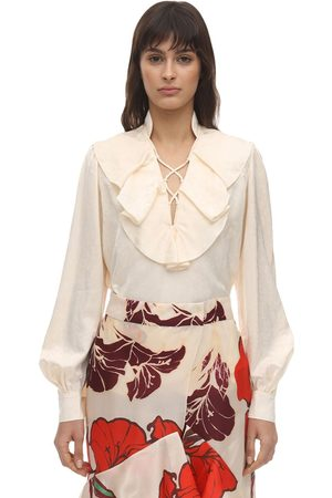 JOHANNA ORTIZ Women Tops - Ruffled Satin Jacquard Shirt