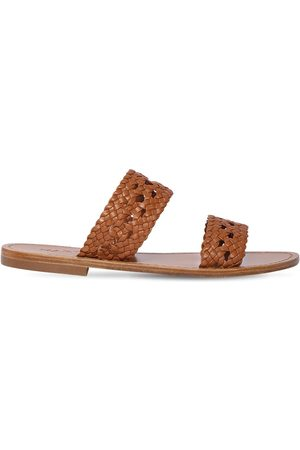 Souliers Martinez 10mm Woven Leather Flat Sandals