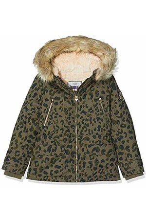 IKKS Girl's Parka Kaki Imprimee Leopard Raincoat