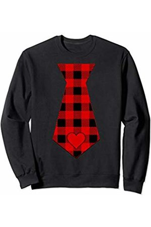 Buffalo Plaid Red Valentines Day Gift Boys Girls Valentine's Days Buffalo Plaid Bow Tie Boy Costume Outfit Sweatshirt