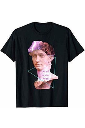 Vaporwave Aesthetic Shirts & Posters Vaporwave David Statue It's All In Your Head Storm Art T-Shirt