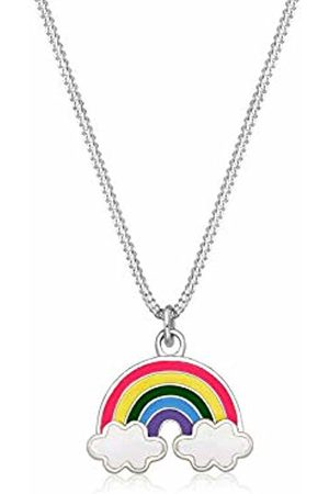 Elli Children's 925 Sterling Girls Rainbow Clouds Lucky Charm Pendant with Necklace of Length 36 cm