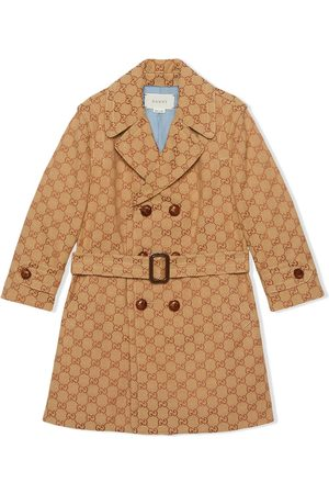 Gucci Monogram print double breasted coat - NEUTRALS