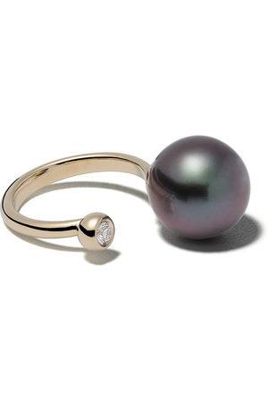 Mizuki 14kt yellow black Tahitian pearl and diamond ring