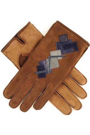 Black Men Gloves - Men's Two Tone Nubuck 'Patchwork' Leather Gloves Cashmere Lined