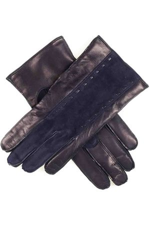 Black Men Gloves - Men's Navy Suede and Leather Gloves Cashmere Lined